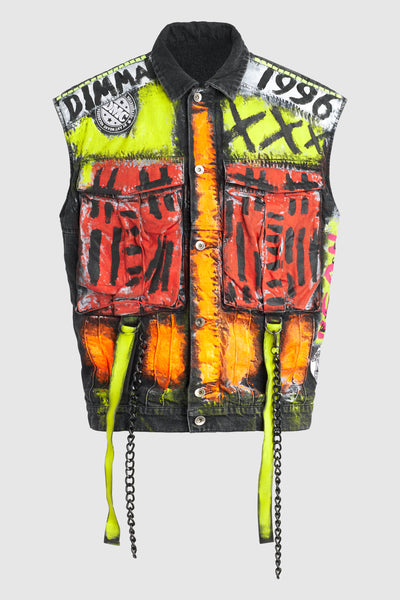 DMMK Neon Future Black Denim Vest #95