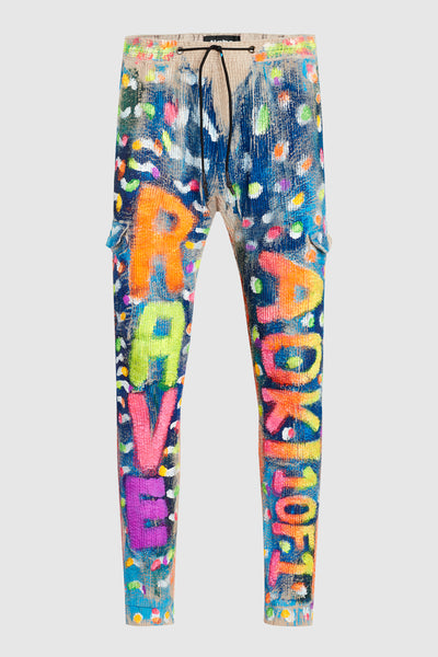 AOKI RAVE NEON PAINTED CORDUROY JOGGER PANTS #72