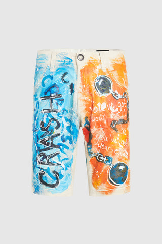 CRASH CREAM SHORT PAINTED IN BLUE AND ORANGE #74