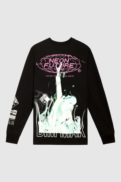 "Tr. 02 - ""Neon Future"" Long Sleeve Tee - Black"