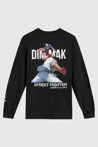 Dim Mak x Street Fighter Chun Li vs Ryu Long Sleeve Tee - Black