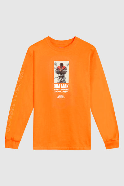 Dim Mak x Street Fighter Ryu Long Sleeve Tee - Safety Orange