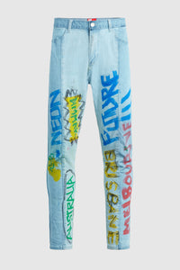 """Australia Tour"" - Hand Painted Jeans by Steve Aoki #2"