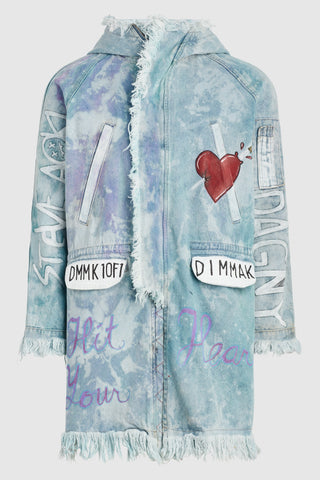 Hit Your Heart Frayed Denim Jacket #31