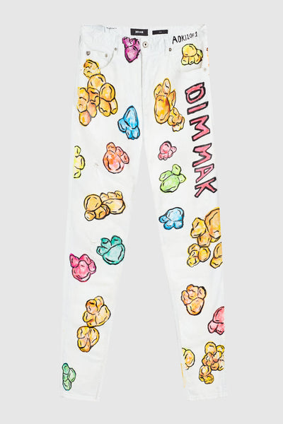 MULTI COLOR POPCORN WHITE JEANS #177