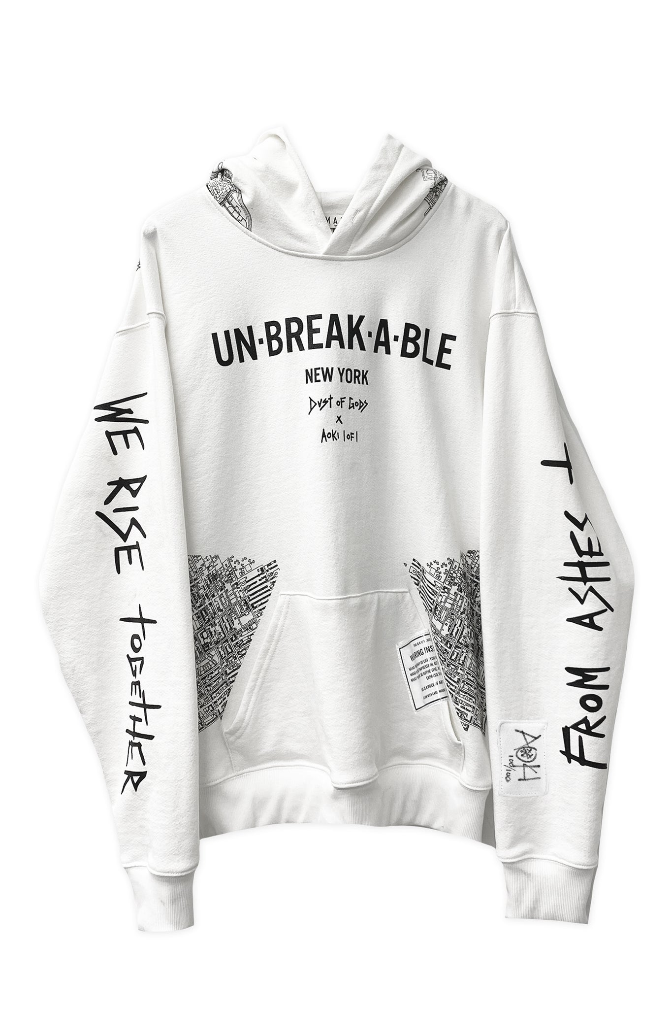 Dust of Gods x Aoki1of1: UNBREAKABLE Hoodie - New York - White