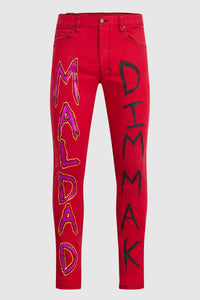 MALDAD PAINTED RED JEANS #150