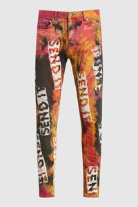 TIE DYE SEND IT PAINTED JEANS #179