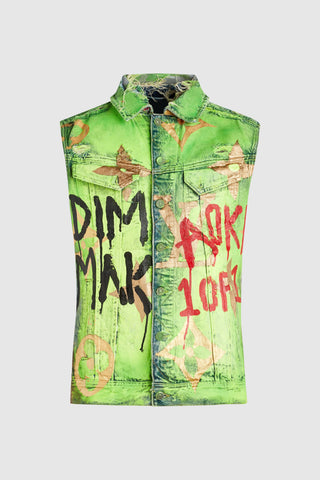 DMMK VS LV PAINTED PRINT DENIM VEST #173