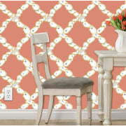 Oyster Lattice Wallpaper in Aqua, Deep Coral, or Pink Coral