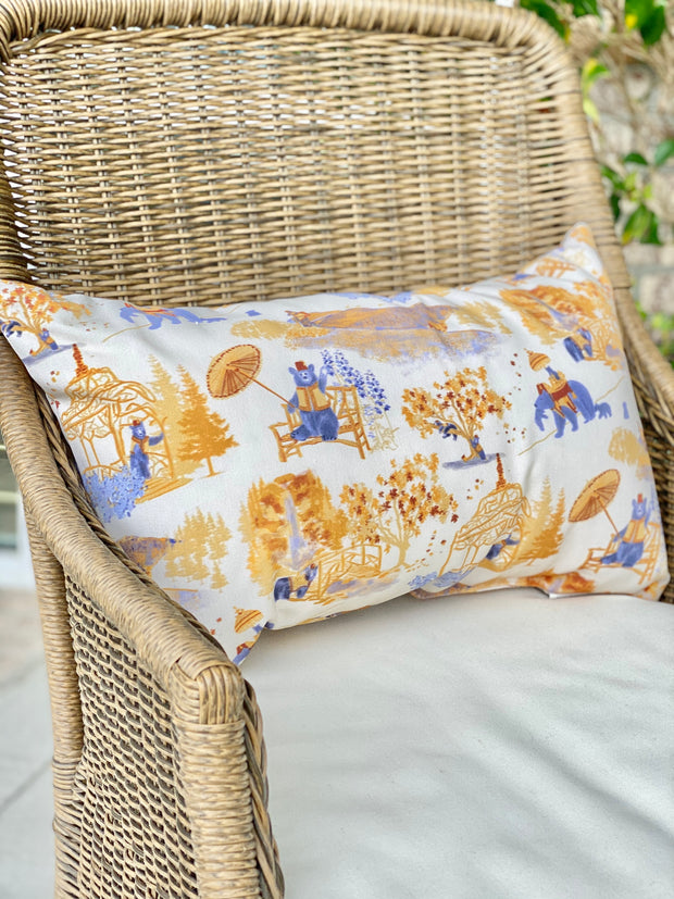 Mountain Toile Outdoor Lumbar Pillow