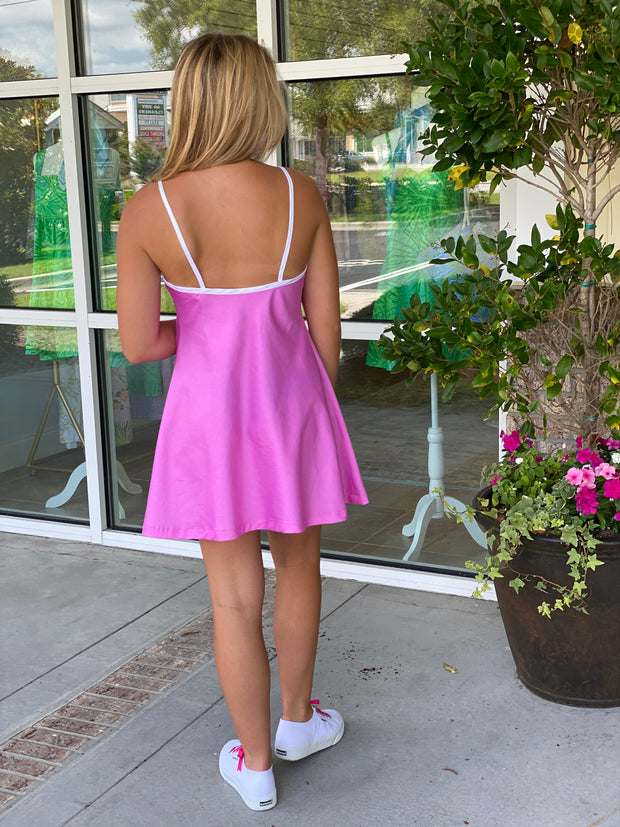 Seabrook Slip Dress in Pink with White in mini