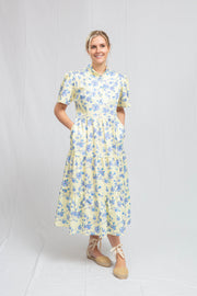 Tiered Midi Dress in  Magnolia Branches on Yellow