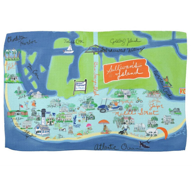 Sullivan's Island Map Kitchen Towel