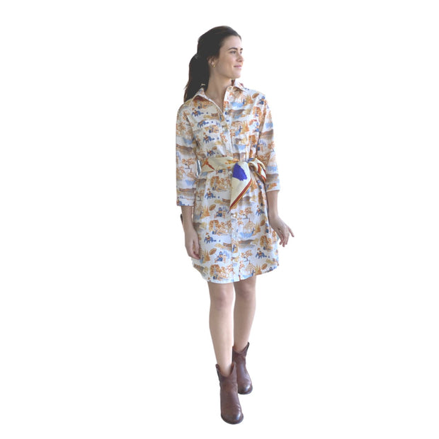 Waverly Shirt Dress in Mountain Toile