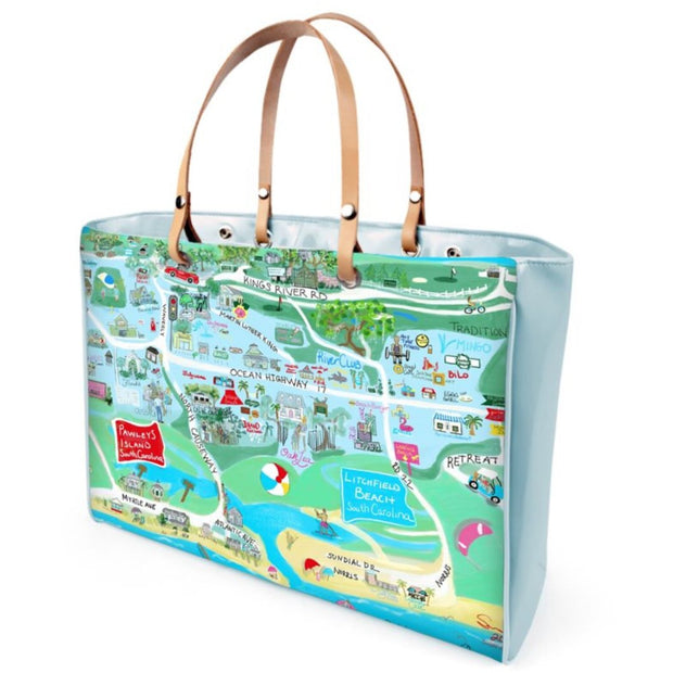 Pawleys Island Map Bag. Choose Blue or Pink