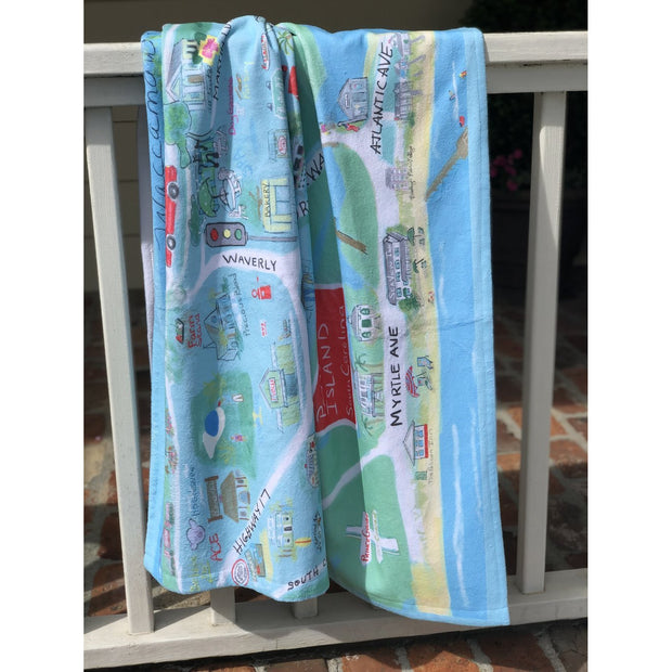 Pawleys Island/Litchfield Map Beach Towel