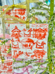 Toile Porcelain  Christmas Ornament