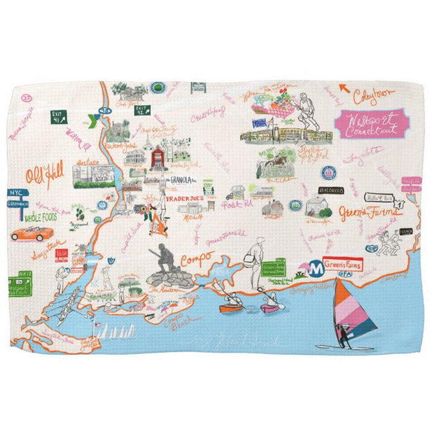 Westport Map Kitchen Towel