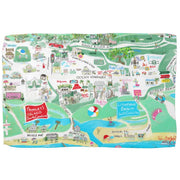 Pawleys Island Kitchen Towel in Map in White or Blue and Pawleys Toile In Blue and White
