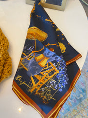 Luxe Silk Twill Scarf- Blue Ridge Scarf - Cream or Midnight