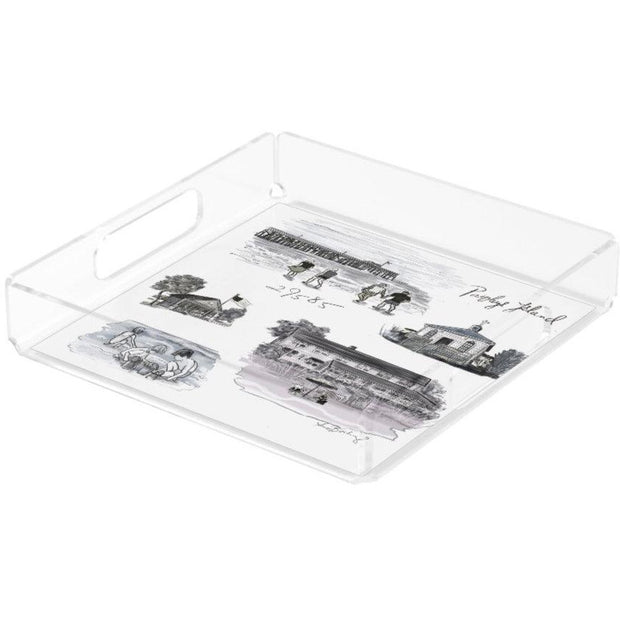 Small Square Black and White Pawleys Island Tray