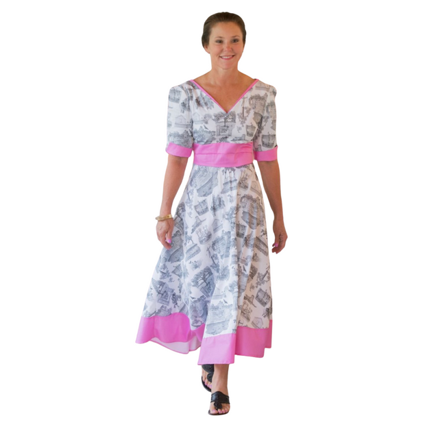 Caledonia Dance Dress Brookgreen Toile  in Gray and Pink