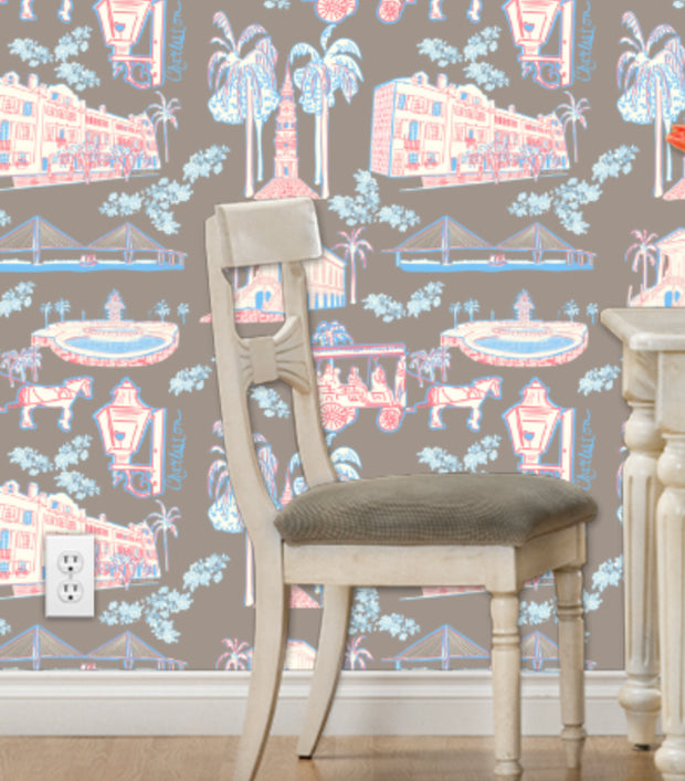 Charleston Toile Wallpaper- in Two Colorways