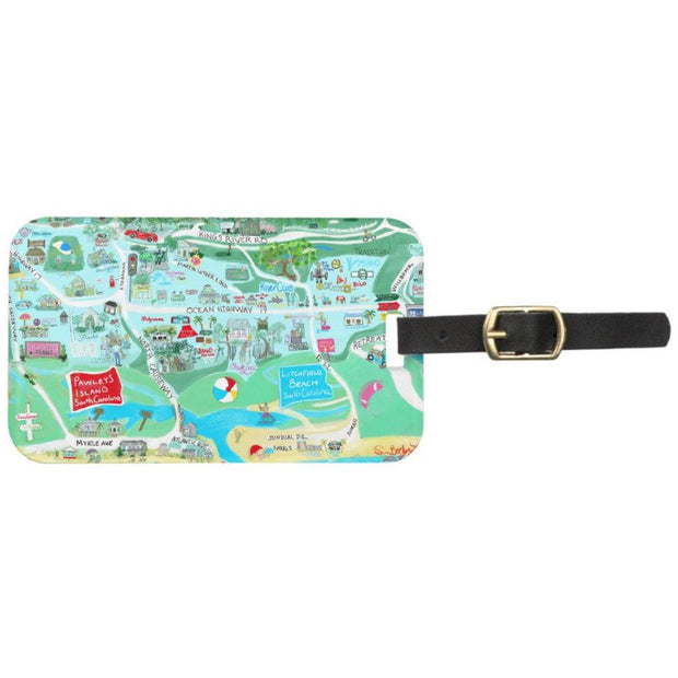 Pawleys Island Map Print Luggage Tag
