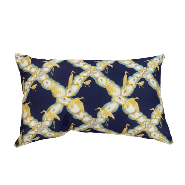 Oyster Lattice with Coastal Birds Outdoor Lumbar Pillow