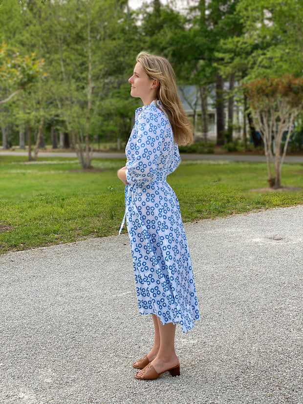 Blue and White Sun Tile Charleston Dress