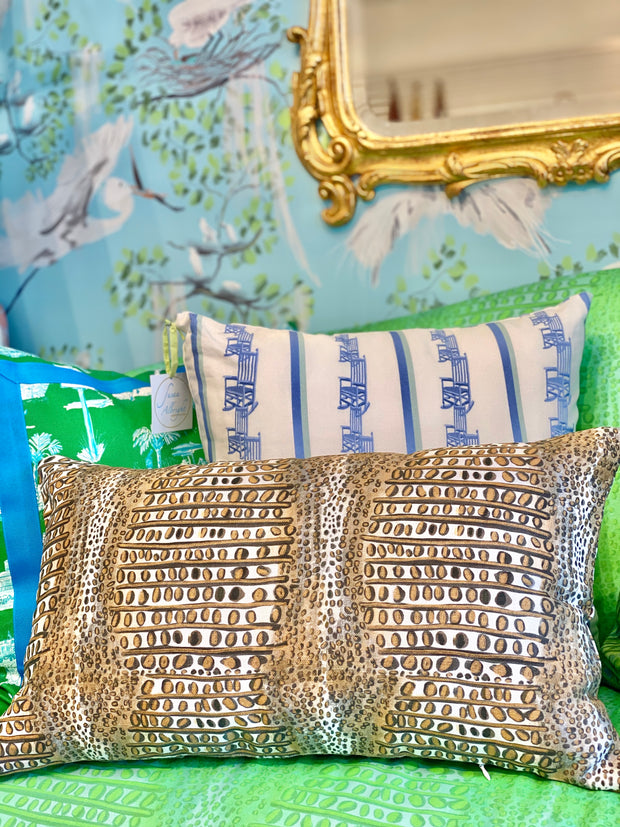 NEW! Belgian Linen Gator Pillow