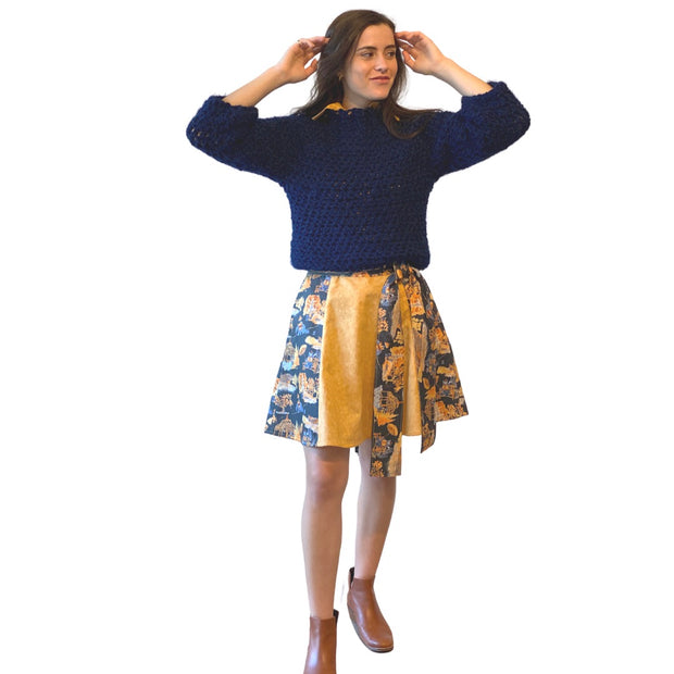 The Biltmore Skirt with Contrast Panels in Mountain Toile