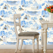 Mountain Toile Peel and Stick Wallpaper in Blue or Pink