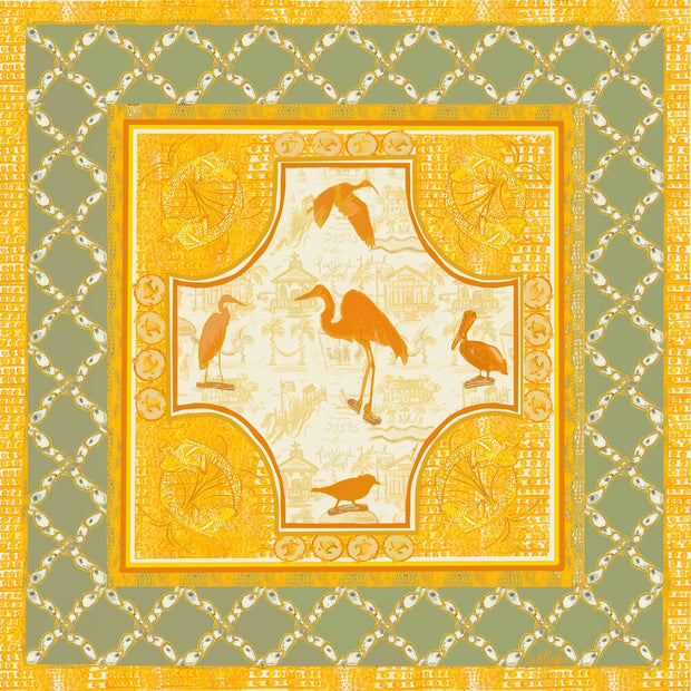 NEW! Pawleys Kitchen Sink Scarf in Saffron and Celadon