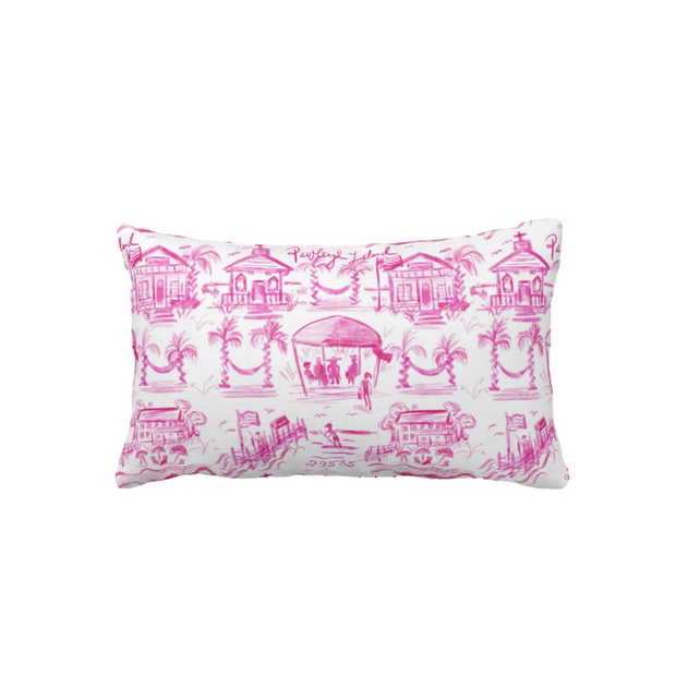 Pawleys Toile Cotton Lumbar Pillow
