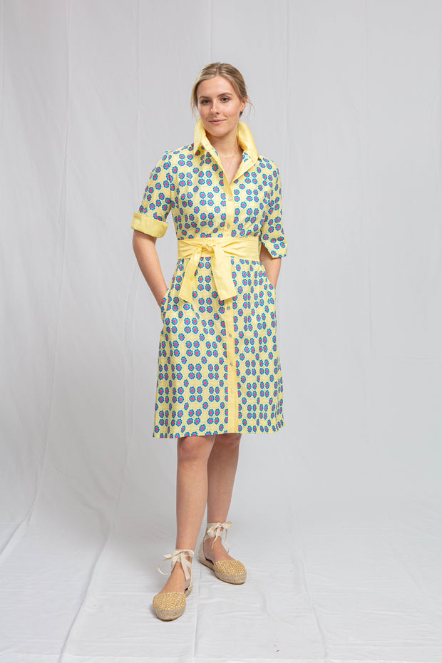 Sun Tile Print Short Sleeved Shirtdress