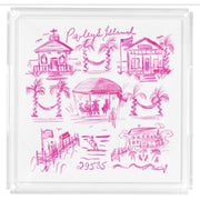 Small Pawleys Island Toile Tray- Pink or Blue