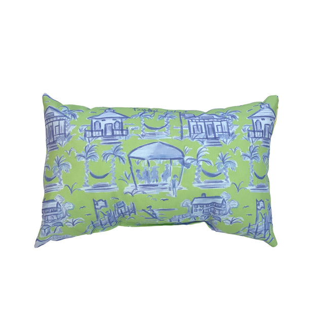 Green and Blue Pawleys Island Toile Lumbar Pillow