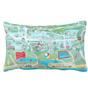Pawleys Island Map Lumbar Pillow in Aqua or Pink