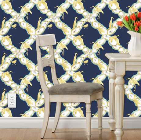 Oyster Lattice and Coastal Birds Peel and Stick Wallpaper
