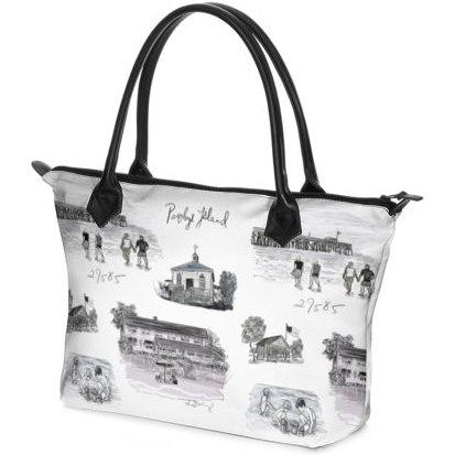 Pawleys Island Black and White Zip Tote