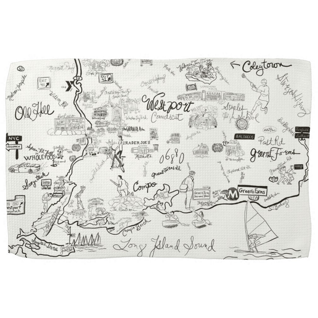 Westport Map Kitchen Towel in Black and White