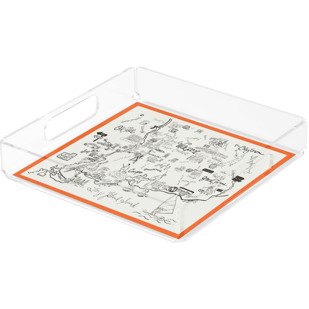 Black and White with Orange Border  Acrylic Tray
