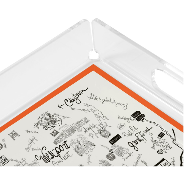 Black and White with Orange Border Westport Map Acrylic Tray