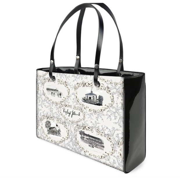 Pawleys Oysters and Seaweed Handbag in Black and White