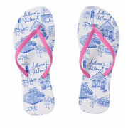 Sullivan's Island Toile Flip Flops Blue Toile with Pink