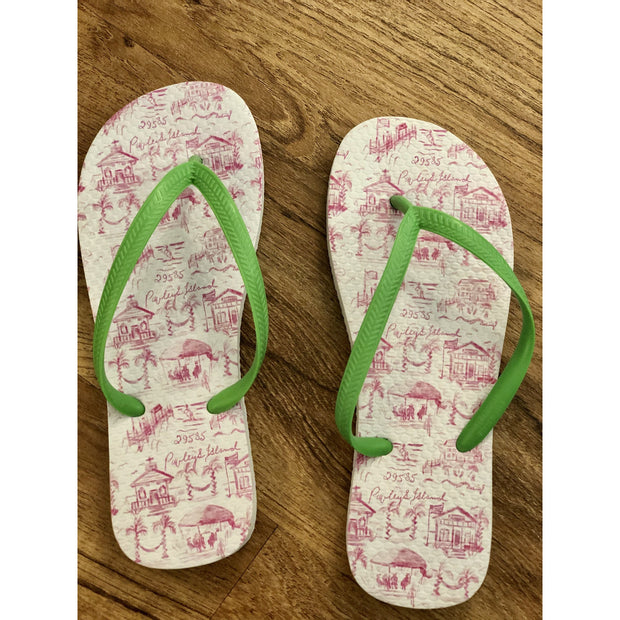 Pawleys Island Toile Flip Flops white background with Color Scenes