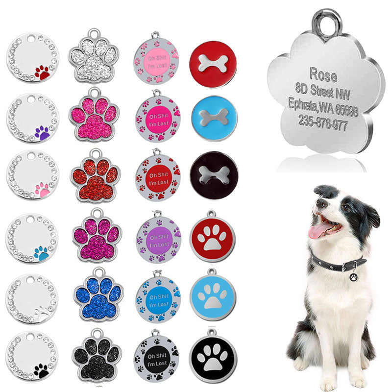 Personalized Engraving Pet Cat Name Tags Customized Dog ID Tag Collar Accessories Nameplate Anti-lost Pendant Metal Keyring