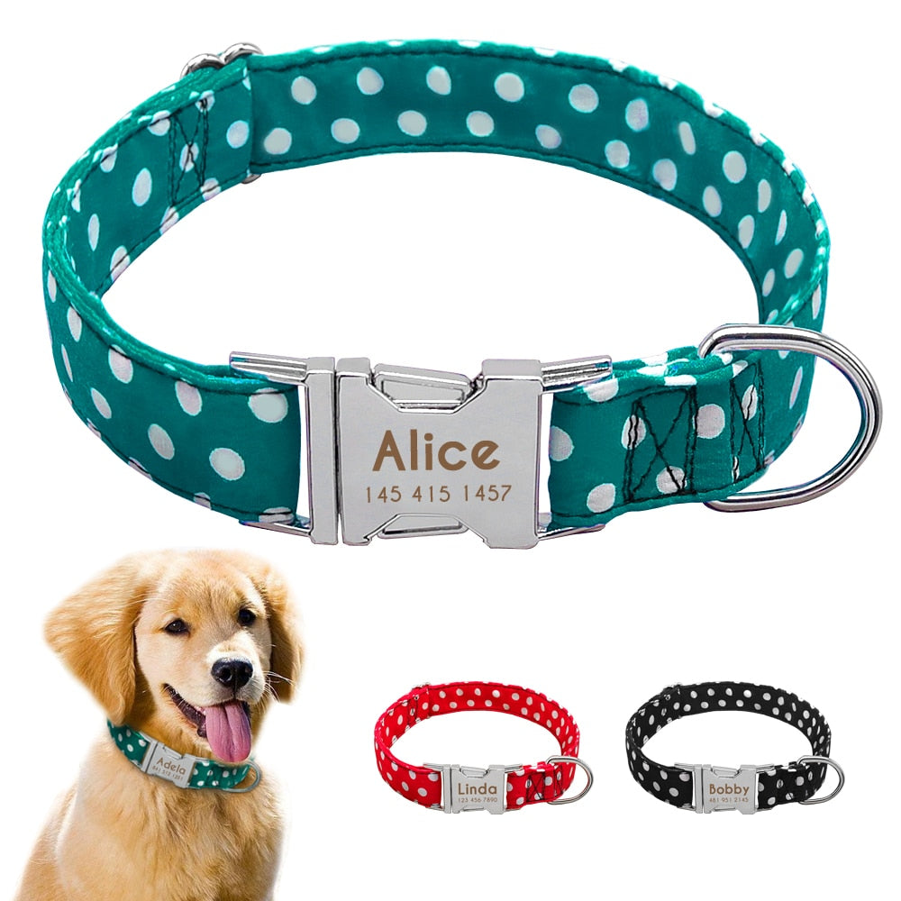 Personazlied Dog Collar Customized Pet Collar Nylon Anti-lost Nameplate Tags Collars Free Engraved For Small Medium Large Dog